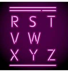Neon Light Alphabet R-Z vector