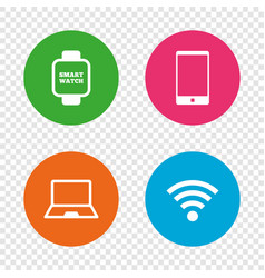 notebook and smartphone icon smart watch symbol vector image