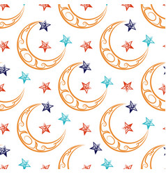 Ornate moon and stars seamless pattern vector