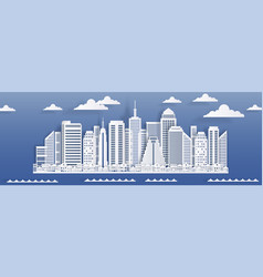 Paper cut cityscape skyscrapers and residential vector