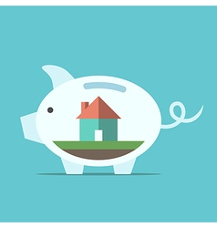 Piggy bank with house vector