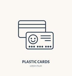 Plastic cards flat line icon vip credit or gift vector