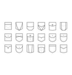 Pocket patch set pockets for fashion design shirt vector