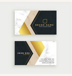Premium marble business card in gold theme vector