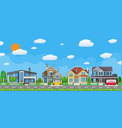 private suburban houses with car vector image