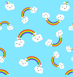 Rainbow with emotion clouds seamless pattern vector