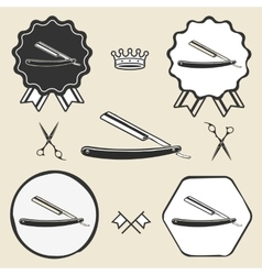 razor barber symbol emblem label collection vector image