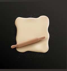 Realistic rolled dough sprinkled with white flour vector