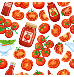 Red tomato with sauce vector