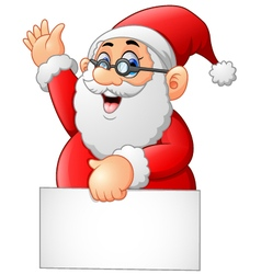 Santa waving and holding blank sign vector