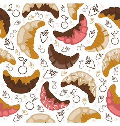 Seamless croissant background vector