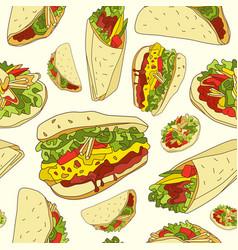 Seamless pattern mexican food vector