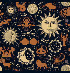Seamless pattern with sun moon zodiac signs vector