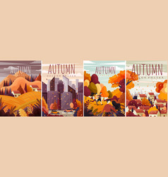 set four different designs for autumn posters vector image