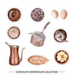 Set isolated elements watercolor chocolate vector