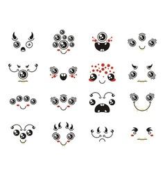 Set of cute lovely kawaii alien emoticon vector image