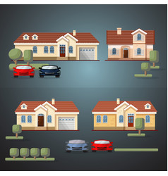 set of living houses cars and trees vector image
