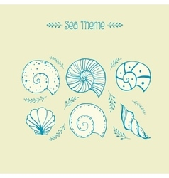 Set of objects sea shells in sketch vector