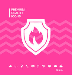 Shield with fire sign - protection icon vector