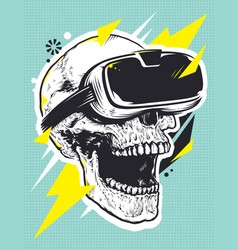 Skull in vr glasses pop art vector