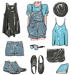 stylish fashion set vector image