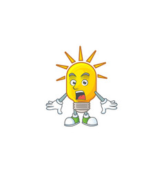 Surprised lamp yellow with cartoon character shape vector