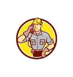 Telephone Repairman Phone Circle Cartoon vector