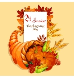 Thanksgiving greeting card Cornucopia harvest vector image