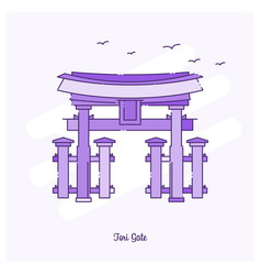 Tori gate landmark purple dotted line skyline vector