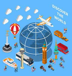 Tourist discoveries isometric composition vector