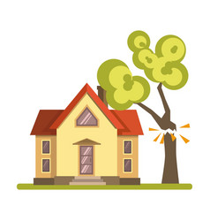 Tree falling on house vector
