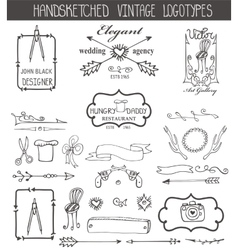 Vintage logotypes elements setDoodle hand sketchy vector