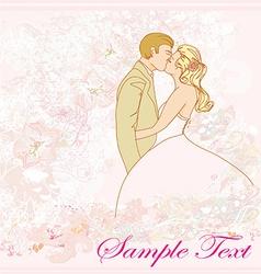 wedding couple kissing - vintage background vector image