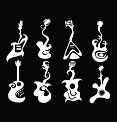 White abstract guitar on black background vector