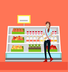 woman daily shopping vector image
