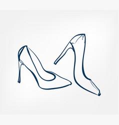 women shoes stilettos one line design element vector image