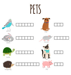 word game for kids how named animal vector image