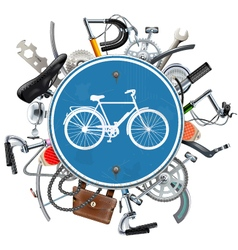 Bicycle Spares Concept with Blue Round Sign vector image