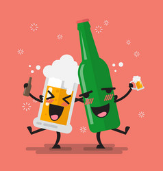 drunk beer glass and bottle character vector image vector image