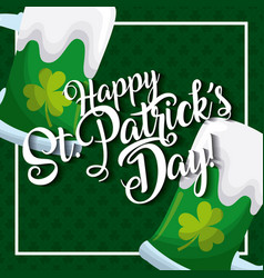 happy st patricks day card greeting beers glass vector image
