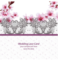 cherry blossom lace card frame spring delicate vector image vector image
