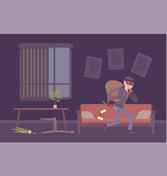 thief housebreaker in a room vector image