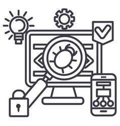 virushackeranti hacking line icon sign vector image