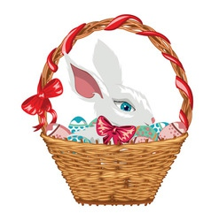Easter Bunny in Basket2 vector image vector image