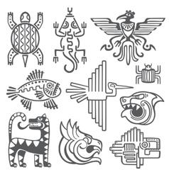 Historic aztec inca symbols mayan temple vector image