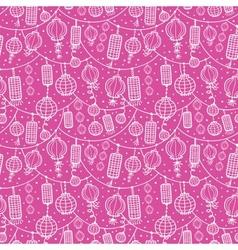 Holiday lanterns line art seamless pattern vector image