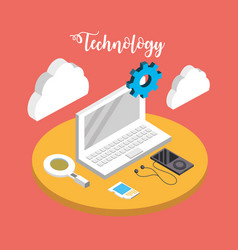 Laptop technology with data services connect vector
