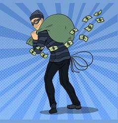 pop art thief in black mask stealing money vector image