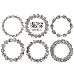 set of henna floral frames vector image