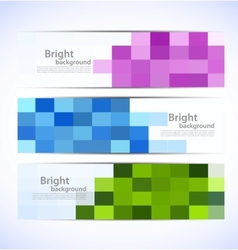 Set of pixelated banners vector image
